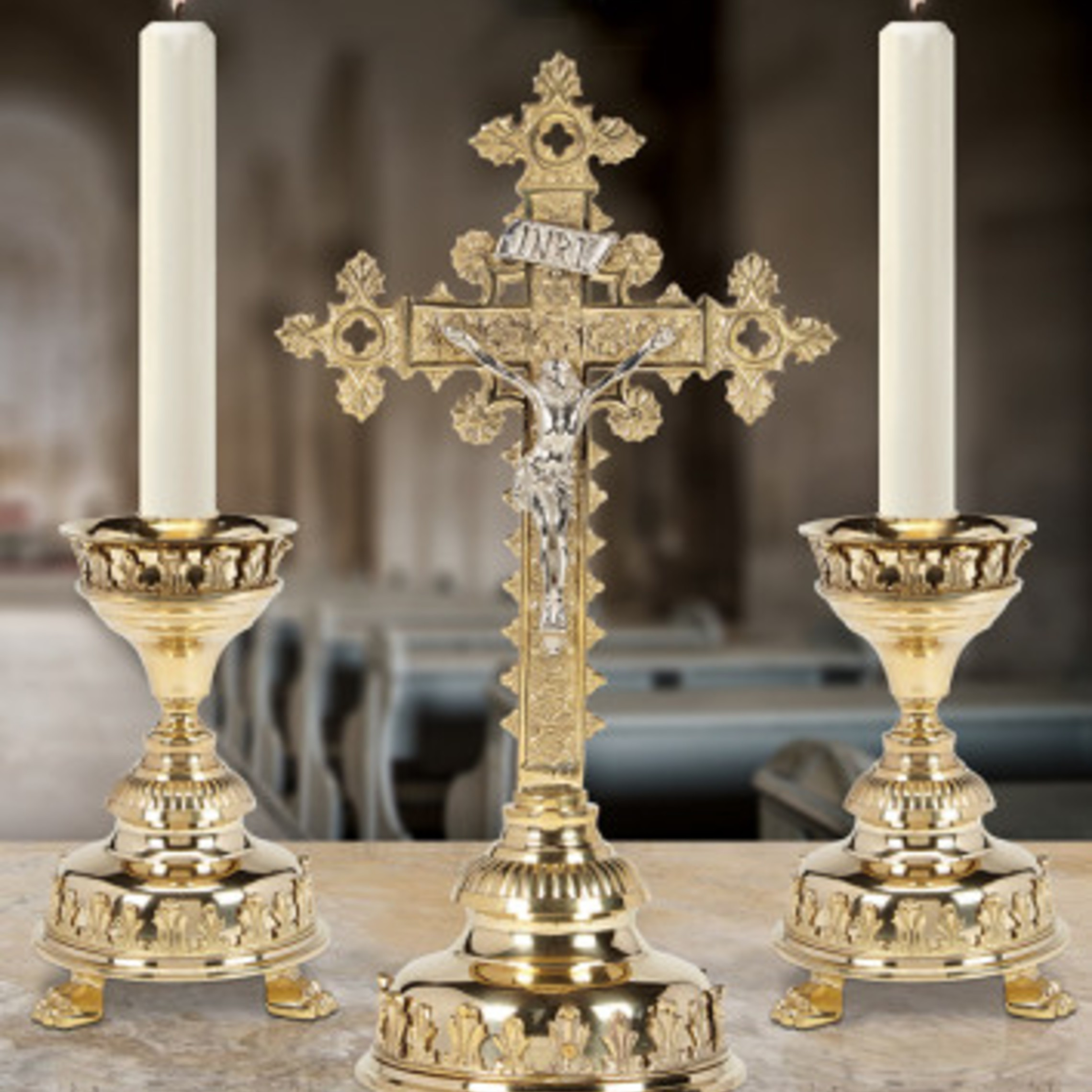 Discounted Altar Crucifix And Candlesticks K15